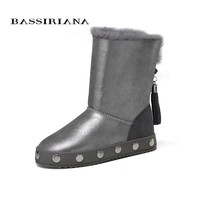 BASSIRIANA - genuine sheep fur leather snowboots for winter Womans winter shoes Warm fashion boots Free shipping