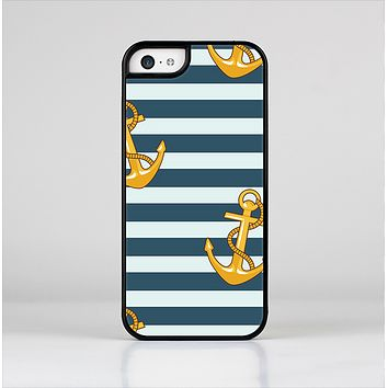 The Navy Striped with Gold Anchors Skin-Sert Case for the Apple iPhone 5c