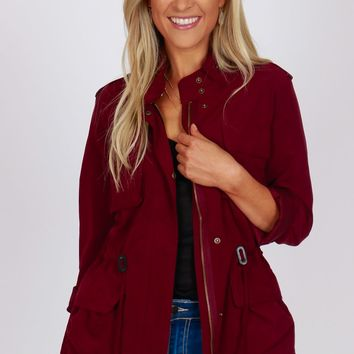 Accented Utility Jacket Wine