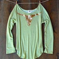 Sequin Longhorn Long Sleeve French Terry Tee T Shirt  Sage Green Taxidermy Cow Skull Bull Antlers Texas Longhorn Steer Boho Patch