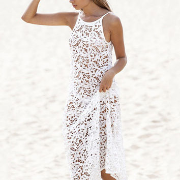 White Spaghetti Strap Deep V-Cut Back Lace Maxi Dress Cover Up