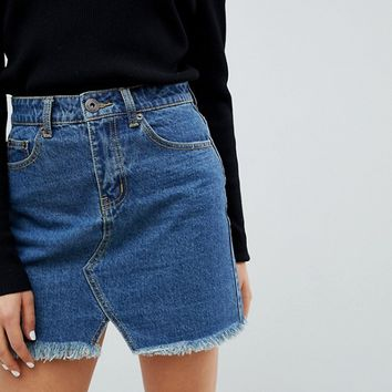 Liquor N Poker Raw Hem Denim Mini Skirt at asos.com