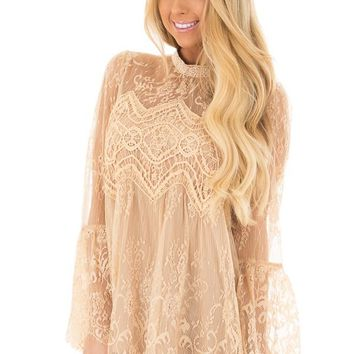Taupe Sheer Lace Top with Bell Sleeves