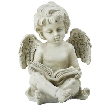 "6.5"" Decorative Sitting Cherub Angel Outdoor Garden Statue"