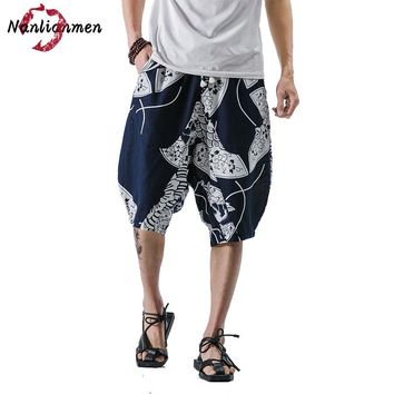 Mid Special Offer 2017 New Chinese Style Linen Loose Knee Length Shorts Men Bermuda Masculina Mens Short Homme
