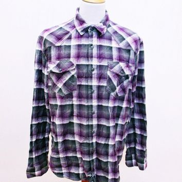 Retro Converse One Star Purple Plaid Lumberjack Designer Check Shirt Large