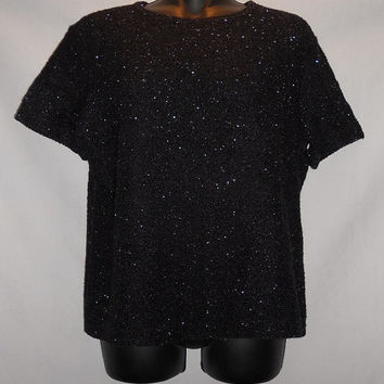 Vintage 90s Kathie Lee Black Sparkly Fuzzy Stretchy T shirt Sweater Size Large New Years Party Celebration