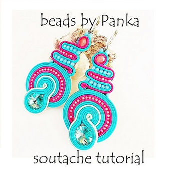 Soutache earring tutorial. Dangle earring tutorial. Instant Download, how to make jewelry tutorial, pfd instruction, soutache pattern.