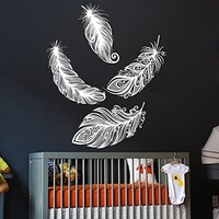 Wall Decal Vinyl Sticker Decals Art Home Decor Murals Feather Feathers Decals Childrens Kids Nursery Baby Decor AN137