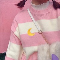 Moon Embroidery Sweater
