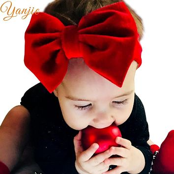 Girls 5'' Big Velvet Bow Headband For Autumn 2019 Kids Velvet Hairband Solid Large Hair Bow Birthday Party Gift Hair Accessories
