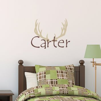 Antlers & Name Decal Set - Hunter Decal - Boys Name with Antlers Wall Stickers - Hunting Bedroom Decor