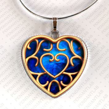 Blue Heart Container Pendant, Piece of Heart, Legend of Zelda Inspired Heart Necklace, Zelda Inspired Jewelry, Charm, Ocarina Inspired, Gift