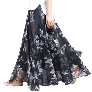 Chiffon Floral Printed Long Flowy Maxi Skirts in Pencil High Skirt Outfits