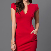 Bee Darlin Short Cap Sleeve Red Dress