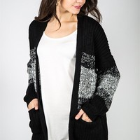 Ombre Pocket Cardi - Black