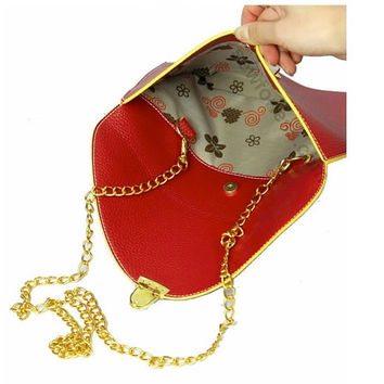 12TH ANNIVERSARY SALE Monogram Envelope Cross body Clutch with detachable chain