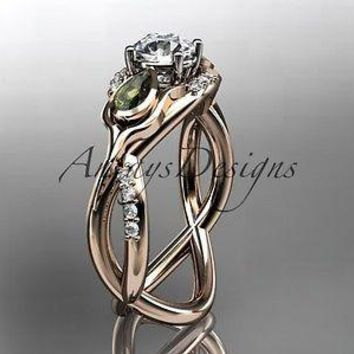 Unique 14kt rose gold diamond tulip flower,  engagement ring ADLR226