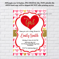 sweetheart invitaiton, Valentine invitation, sweetheart red baby shower, it's a girl , love hearts,  any party, feburary party  - card 1249