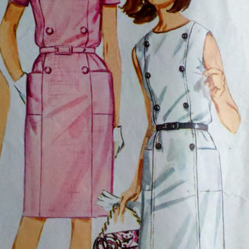 1960's Women's Mod Wiggle Dress Vintage Sewing Pattern Simplicity 6532 Size 18 Bust 38""