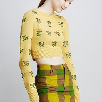 Jeremy Scott x Shrek Shrek Face Embroidered Cropped Sweater - WOMEN - JUST IN - Jeremy Scott x Shrek