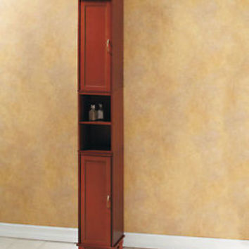 "Walnut 65"" Slim Storage Cabinet W/ Shelves Bathroom Kitchen Laundry Living Room"
