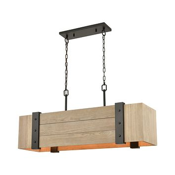 Wooden Crate 5-Light Island Light in Oil Rubbed Bronze with Slatted Wood Shade in Natural