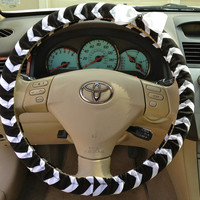 Steering Wheel Cover Black & White Chevron Fabric w/White Bow, Teen, Girl, Women, Gifts, Car, Auto accessories, Chevron