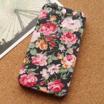 Vintage Floral Garden Fabric Phone Case For iPhone 5