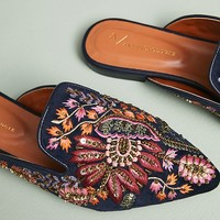 Anthropologie Embroidered Springtime Slides
