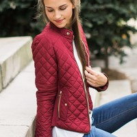 Winter Winds Wine Red Quilted Jacket