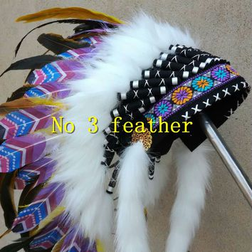 21inch orange Chief Indian feather Headdress Native American War Bonnet  hand made dance wear supply