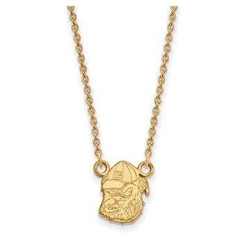 NCAA 14k Gold Plated Silver U of Georgia Sm Bulldog Pendant Necklace