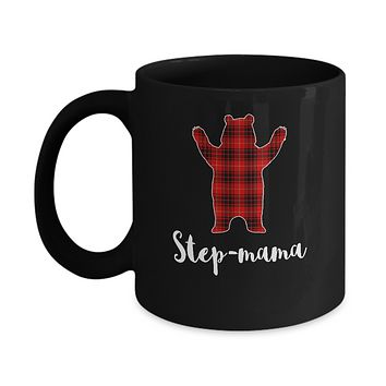 Red Step-Mama Bear Buffalo Plaid Family Christmas Pajamas Mug