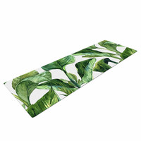 "Kess Original ""Banana Leaves"" Green White Yoga Mat"