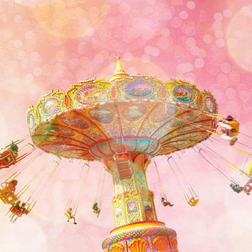 Pink decor, baby girl, carnival art, summer vacation little girl's room dusty rose magenta carnival swing pretty in pink nursery decor