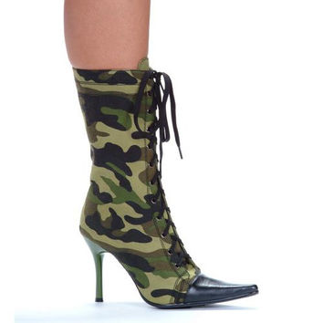 "4.5"" Heel Knee High Green Camo Boot."