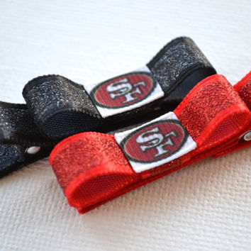 San Francisco 49ers Hair Clips - Toddler Hair Clips - San Francisco 49ers Bows -San Francisco 49ers Stocking Stuffer