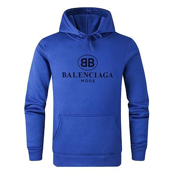 Balenciaga 2019 new logo print hooded pullover sweater Blue