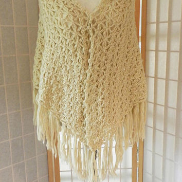 Vintage Beige Ivory Crochet Shawl, Long Fringe Handmade Wrap Scarf, Hand knit Poncho, Ladies Fashion Accessories