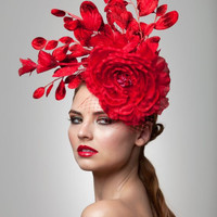 Red FascinatorCocktail Hat Kate by ArturoRios on Etsy