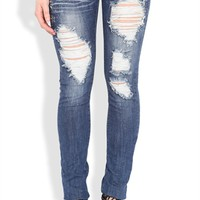 Machine Skinny Jean with Destruction Details and Stone Trim