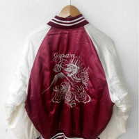 CLEARANCE SALE 25% SUKAJAN Japanese Japan Vintage 1990's Embroidery Dragon Fuji Tokyo Red Jacket Embroidered Souvenir Satin Jacket