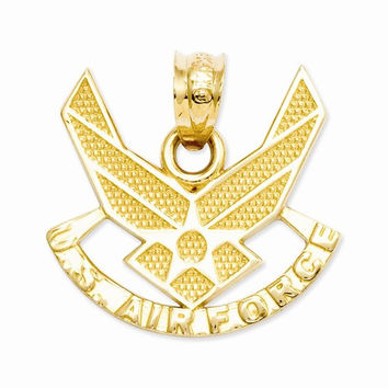 14k Yellow Gold U. S. Air Force Charm Pendant
