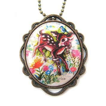 Pretty Bambi Deer In a Field of Flowers Illustrated Pendant Necklace | Animal Jewelry