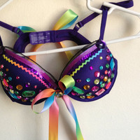 34B Rainbow Rhinestone Rave Bra by GimmeMorey on Etsy