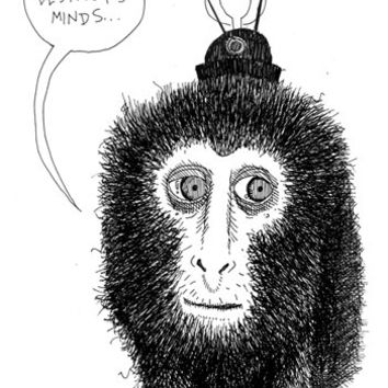 Technology Destroys Minds Sketch, Who is Dirk, Street Art, Wheat Paste, NYC, Brooklyn, Art, Drawing, Monkey, Comic, Poster - Print