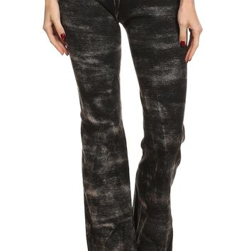 Tie Dye Knit Flared Pants with Elastic Waistband Detail