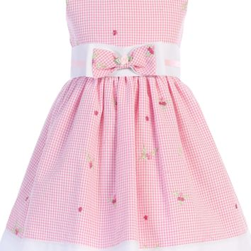 Pink Gingham Print Cotton Seersucker Girls Dress 3M-4T
