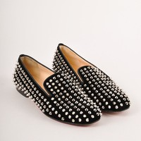 KUYOU Black and Silver Velvet Rollerball Spiked Loafer Flats